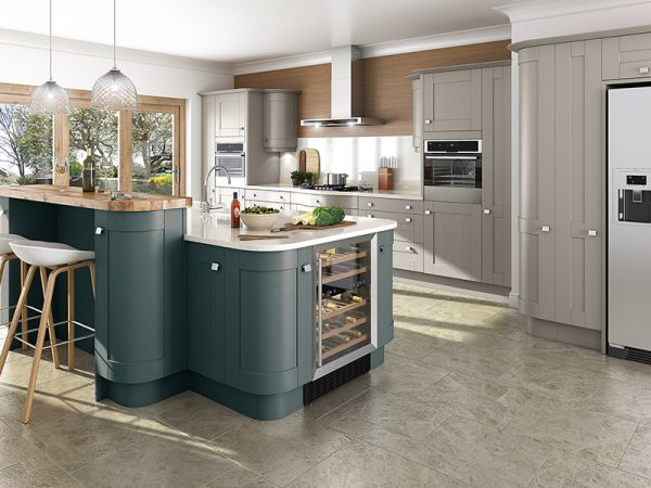 3 Shaker Linwood Purbeck Stone Kitchen in Stiffkey Blue